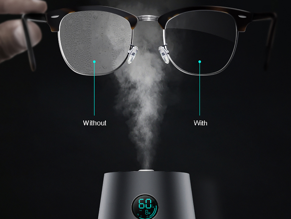 An example of the spray in use, a pair of glasses, one side fogged up and the other clear, is shown