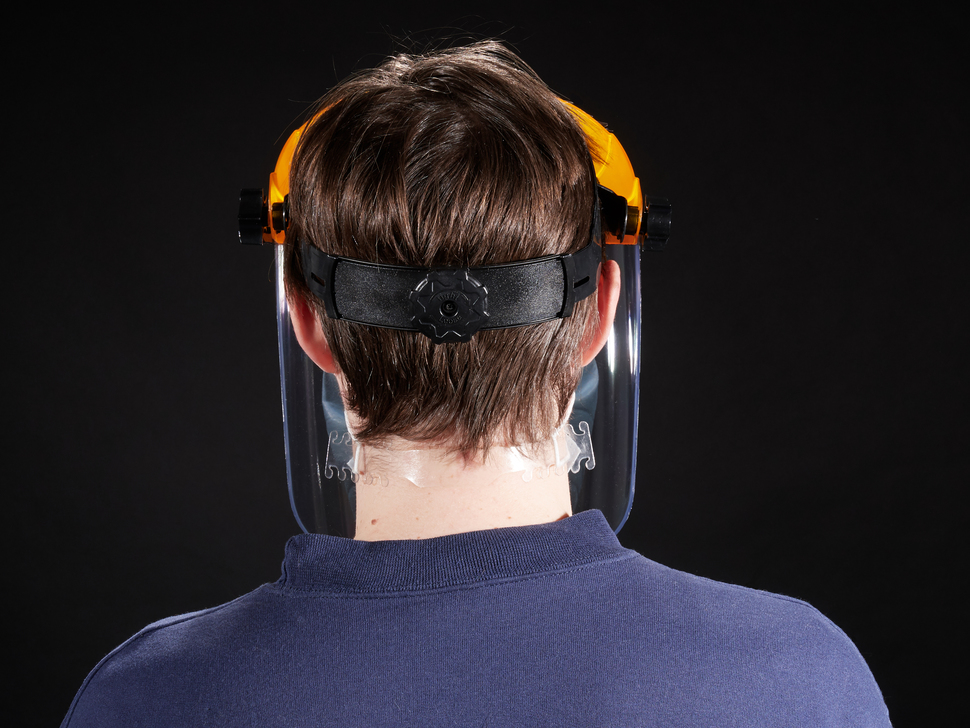 Model shown wearing face shield from the back
