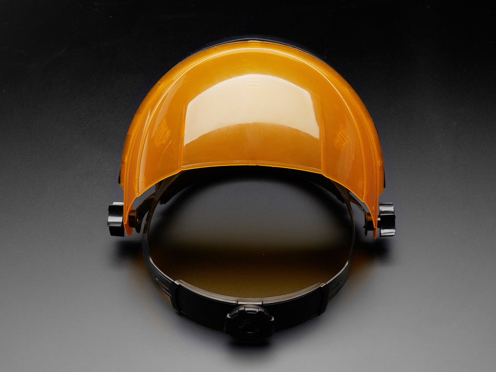 Face shield shown laying flat from the back