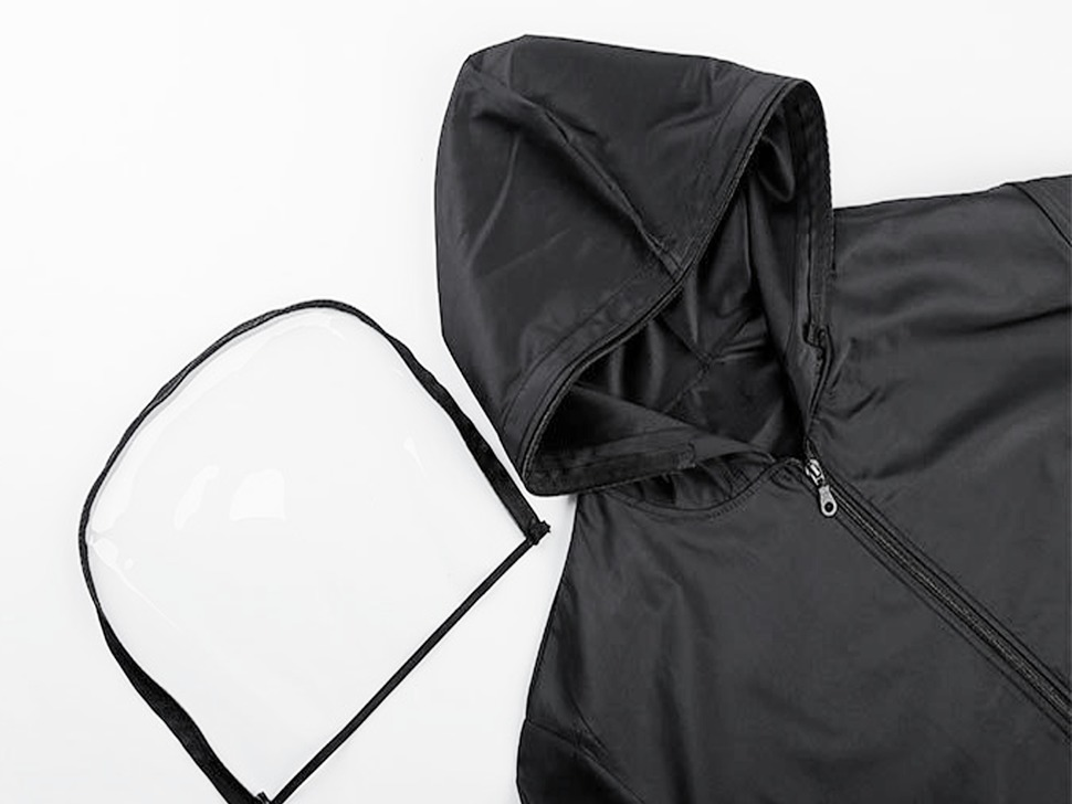 Adafruit Black Raincoat with Removable Face Shield - Small