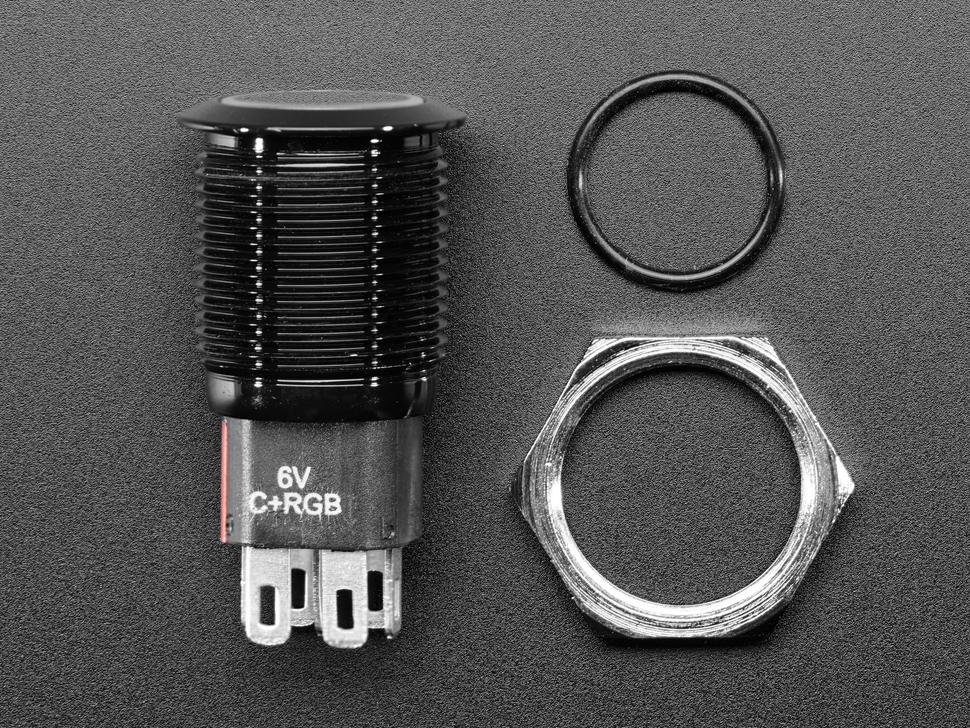 Rugged Metal Pushbutton with Black Finish - 16mm 6V RGB Latching - 16mm Black Latching