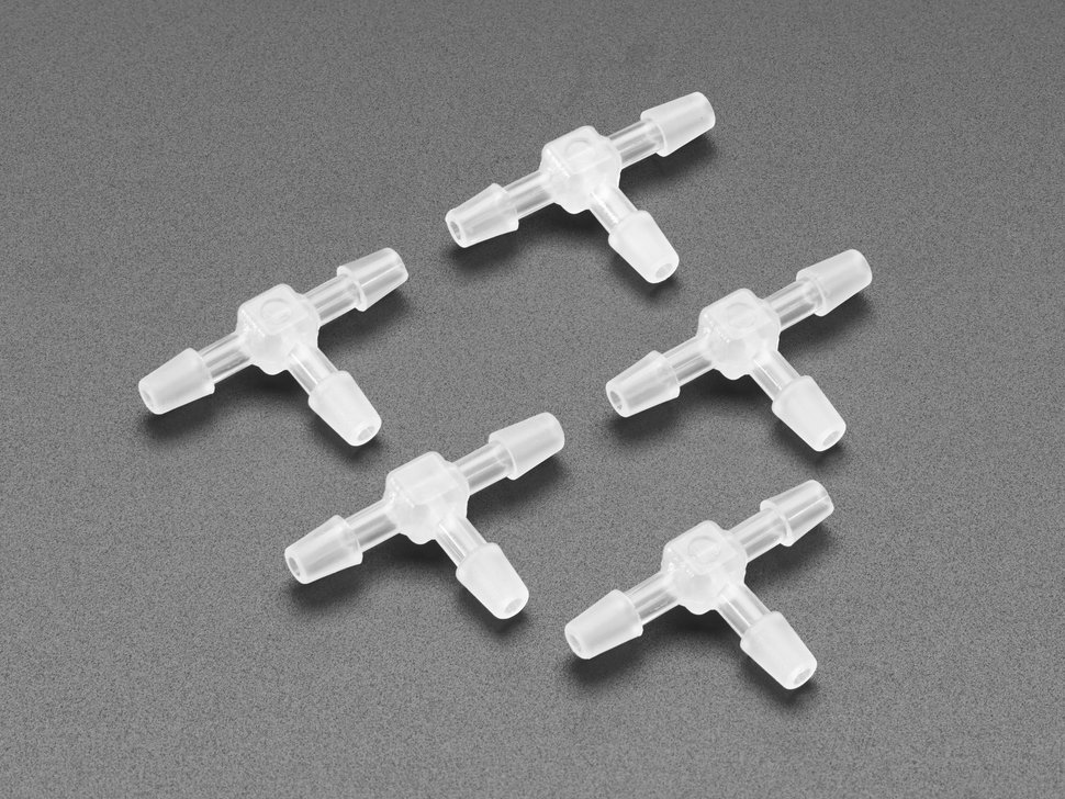 Five T-Connectors For Silicone Tubing