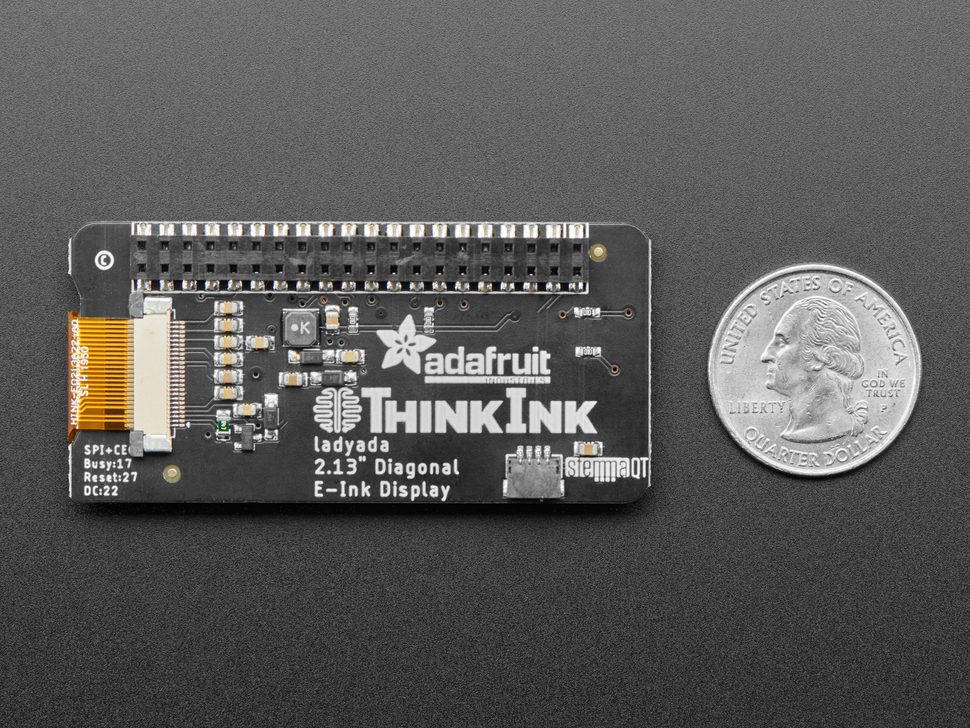 "Adafruit 2.13"" Monochrome E-Ink Bonnet for Raspberry Pi - THINK INK"