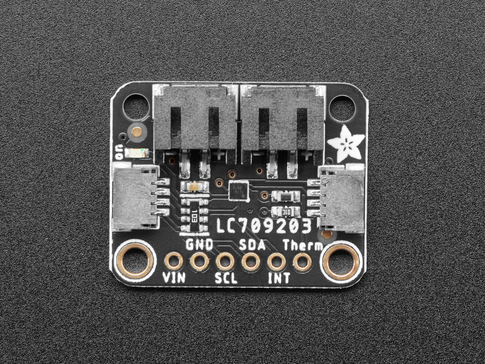 Top view of Adafruit LC709203F LiPoly / LiIon Fuel Gauge and Battery Monitor.