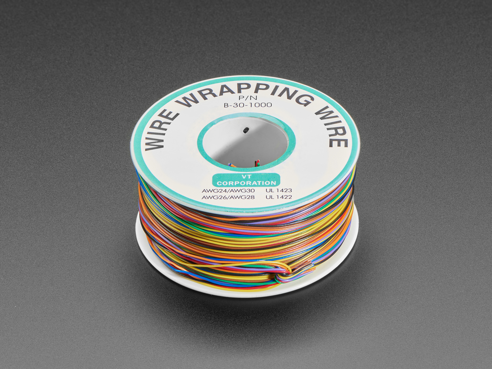 "Rainbow ""Wire Wrap"" Thin 30 AWG Prototyping & Repair Wire - 280 meters total - 35m each of 8"