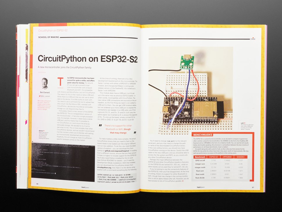 Open magazine spread featuring CircuitPython on ESP32-S2. A rectangular black dev board is plugged into a breadboard. It is jumper-wired onto an add-on board.