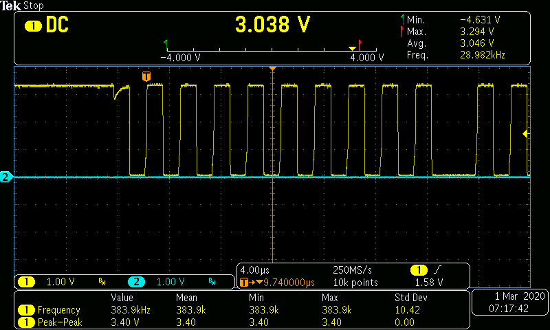 Screen shot of oscilloscope traces with nice square I2C clock signal