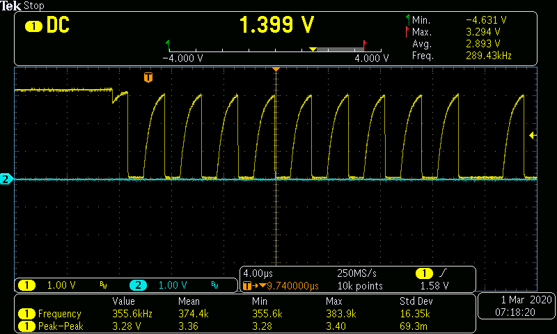 Screen shot of oscilloscope traces with shark-tooth I2C clock signal
