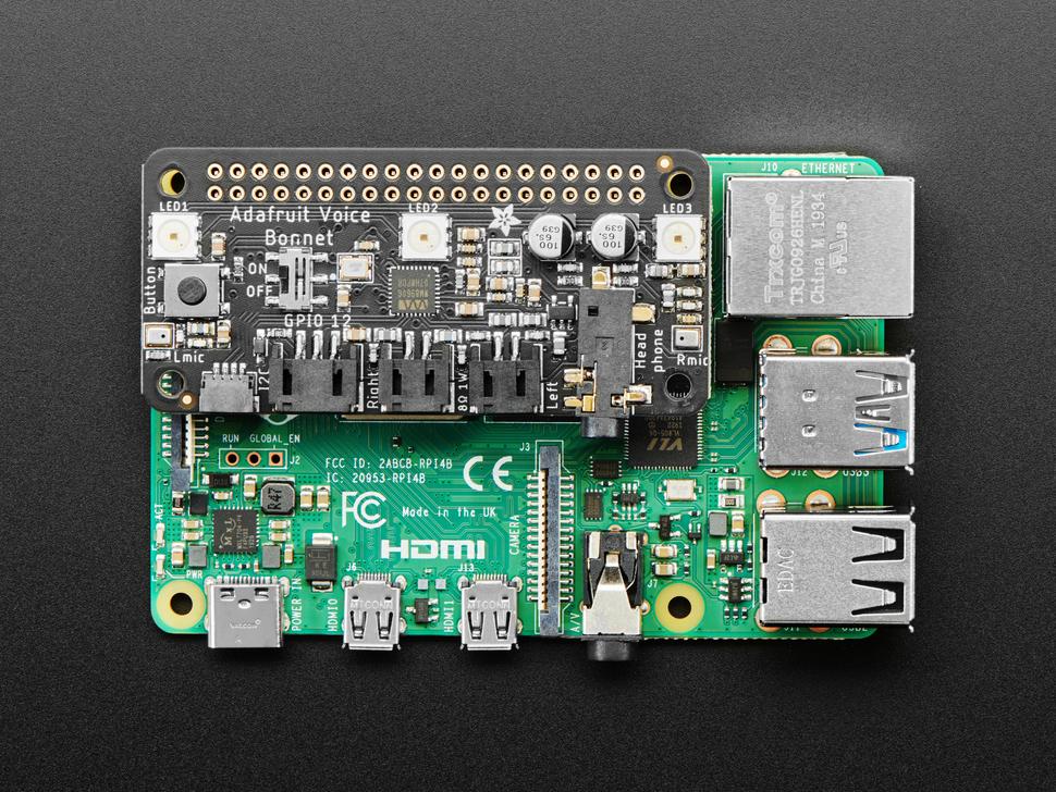 Adafruit Voice Bonnet for Raspberry Pi -Two Speakers + Two Mics