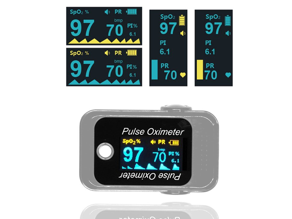 Silver finger pulse oximeter shown displaying a pulse reading