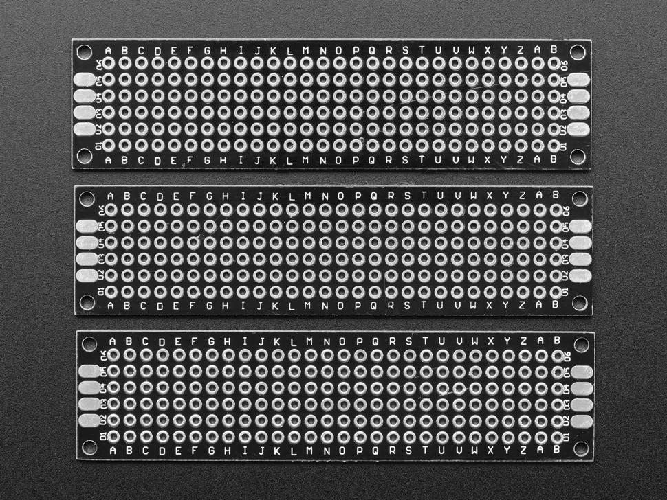 Universal Proto-board PCBs 2cm x 8cm - 3 Pack