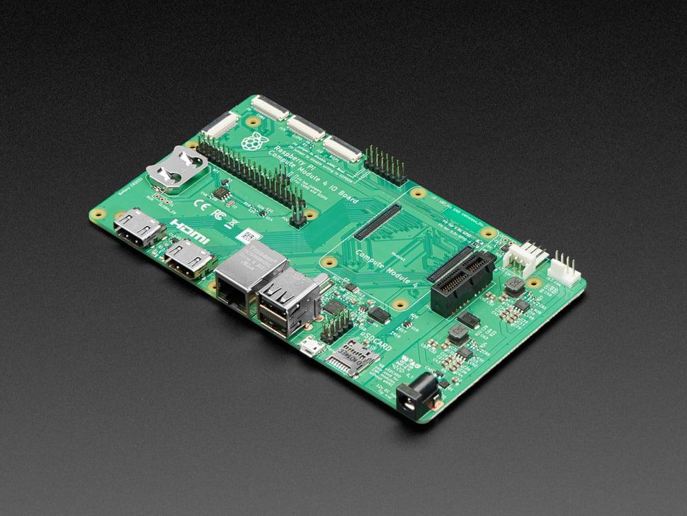 Angled shot of large Raspberry Pi Compute Module 4 I/O Board.