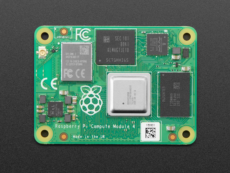 Top down shot Raspberry Pi Compute Module 4 - 4GB RAM, 32GB MMC, WiFi displaying
