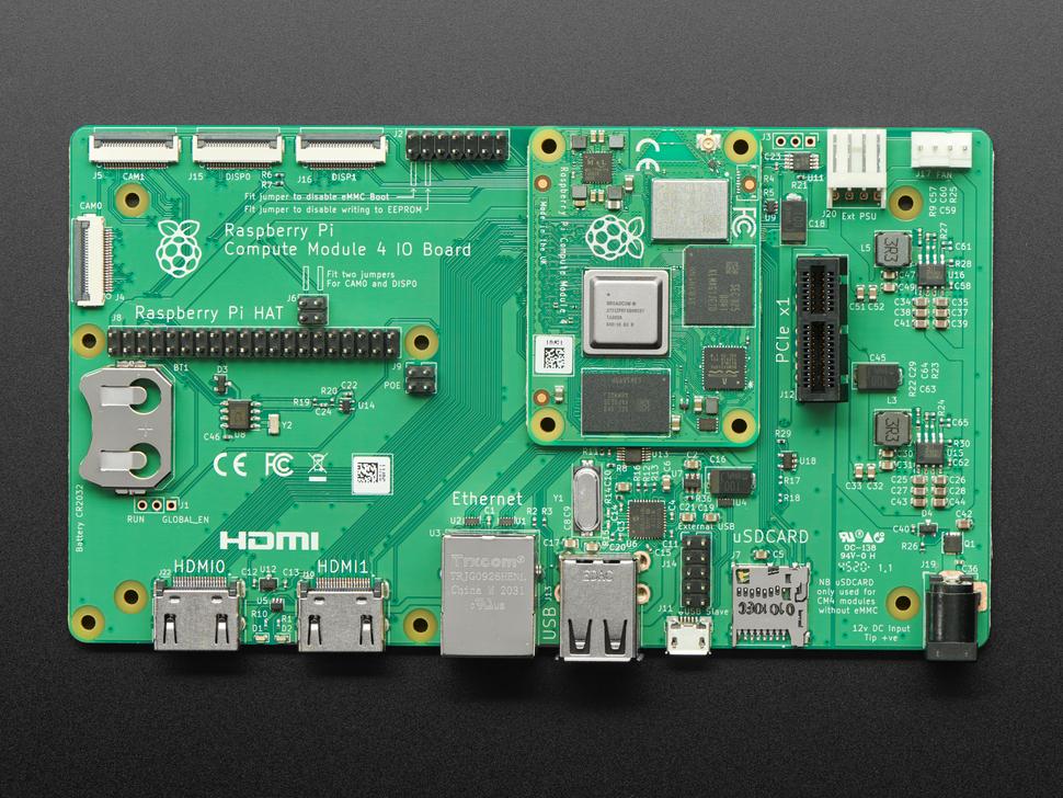 Compute module installed into a Raspberry Pi Compute Module 4 IO Board.
