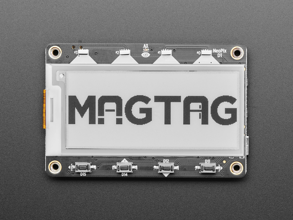 """Front of MagTag showing 4 buttons, 4 NeoPixels and 2.9"""" e-ink display."""