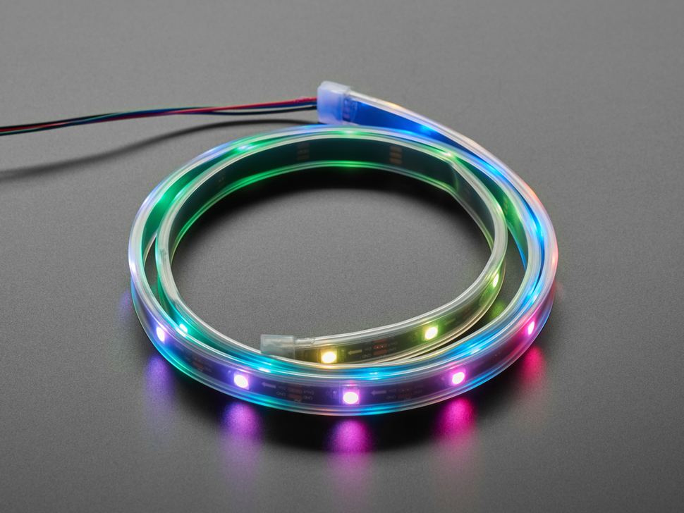 Adafruit NeoPixel LED Strip with 3-pin JST Connector lit up rainbow