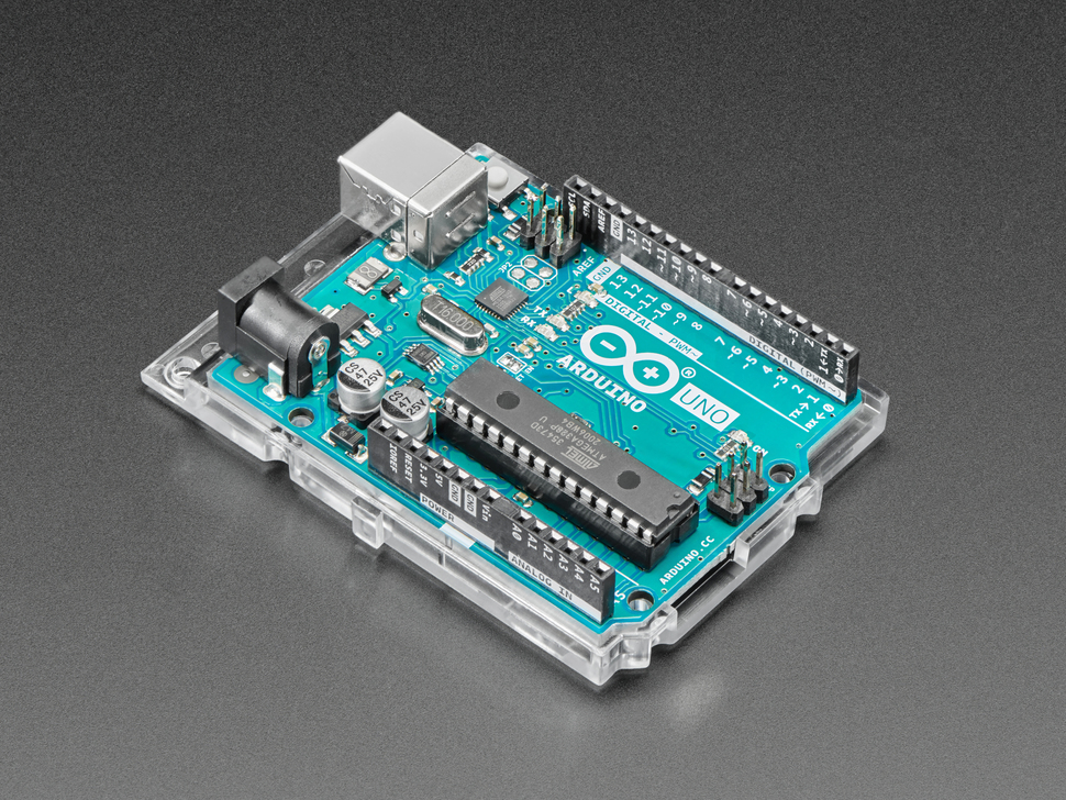 Arduino Uno on top of mounting plate