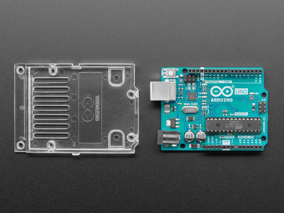 Arduino Uno next to mounting plate