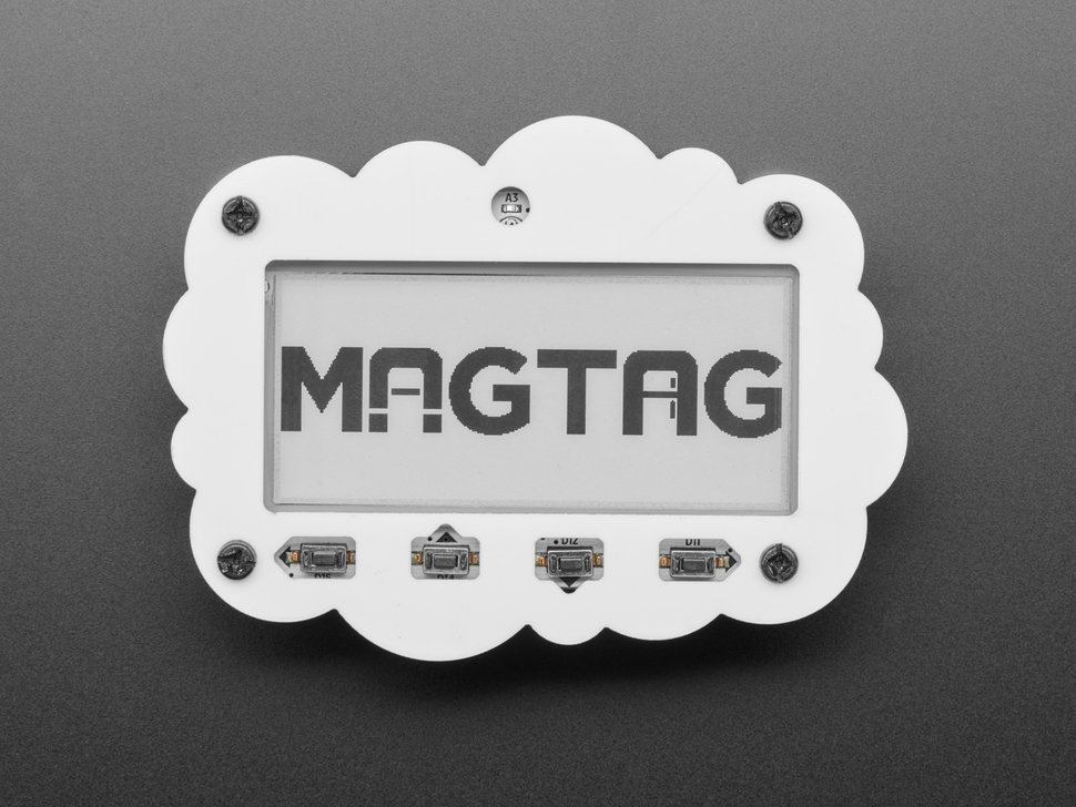 MagTag dev board with four magnets and lipoly battery