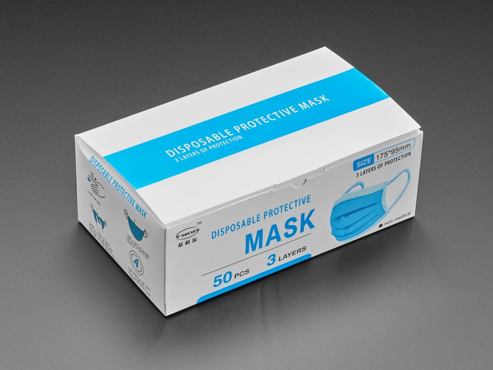 Standard Adult Disposable Masks - Black Surgical-Style - 50 pk