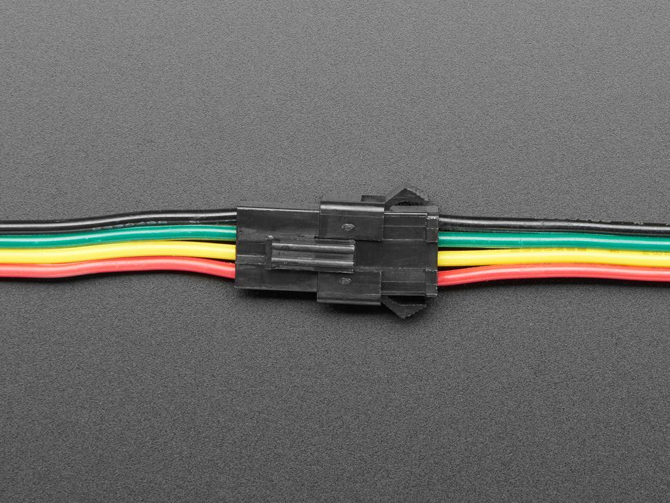 Close-up of socket and plug connectors mated.