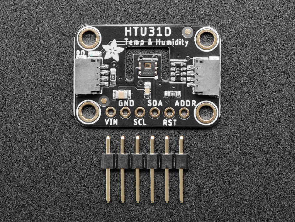 """Top view of humidity breakout board with 6-pin 0.1"""" male header."""