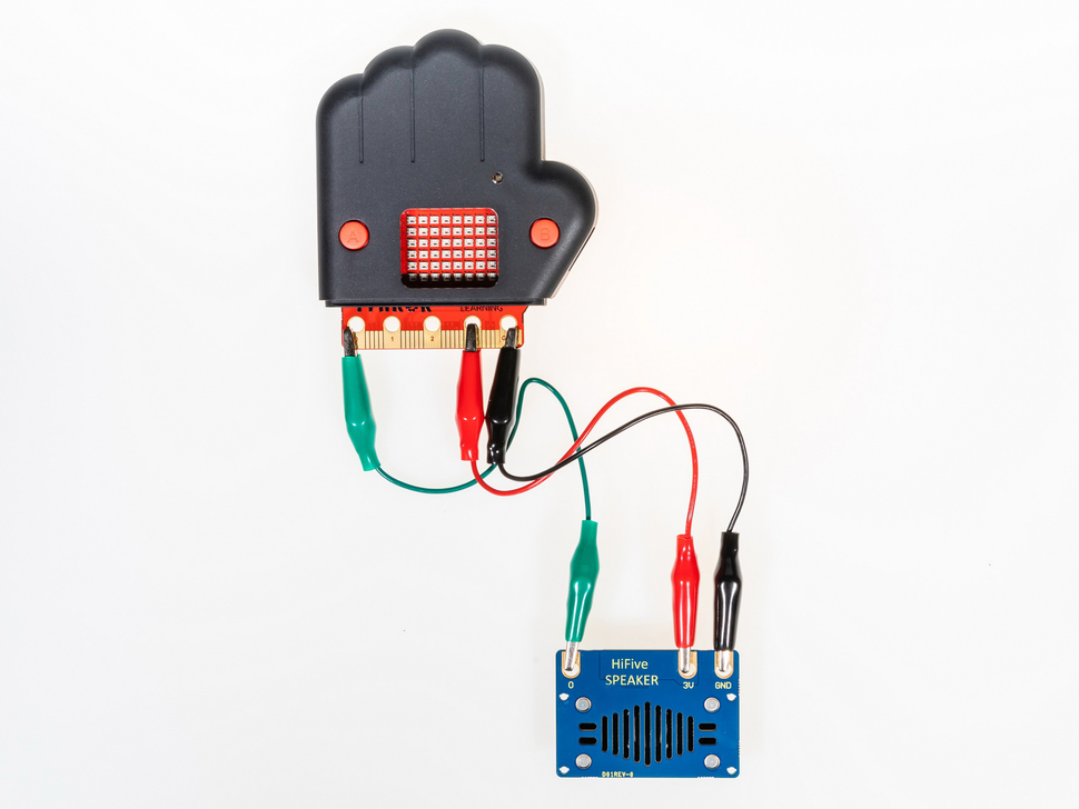 PCB connected to speaker with alligator clips
