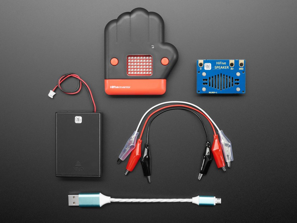 Kit contents with board, enclosure, speaker and cables.