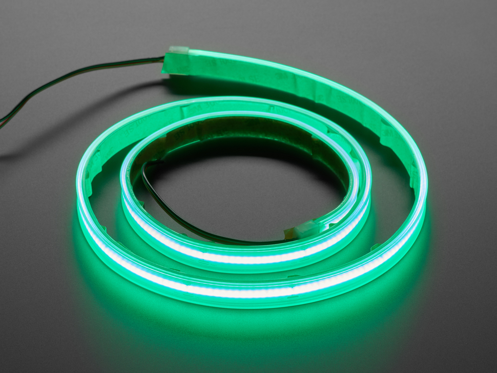 Coiled LED strip lit up green