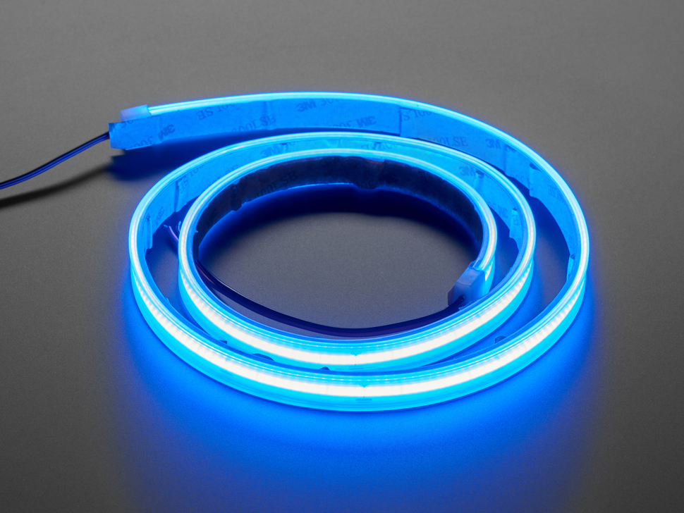 Coiled LED strip lit up blue