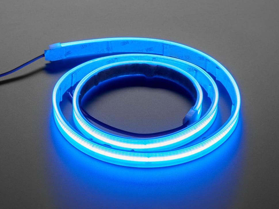 Coiled LED strip lit up blue