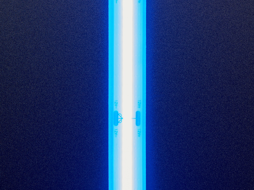 Close up of lit silicone bead LED strip