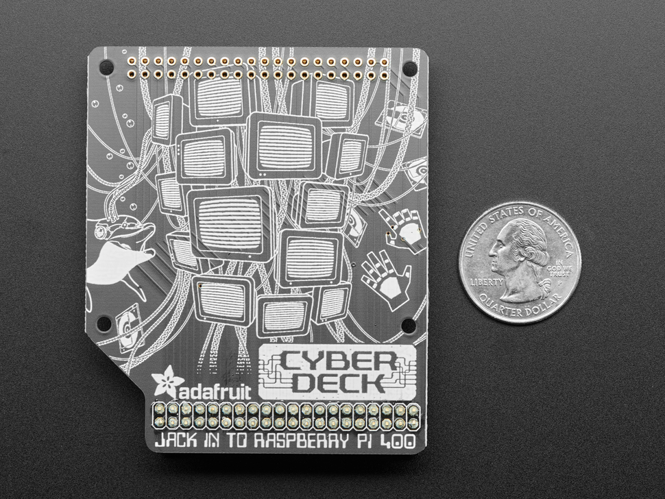 Top-down shot of Cyberdeck HAT PCB next to US quarter