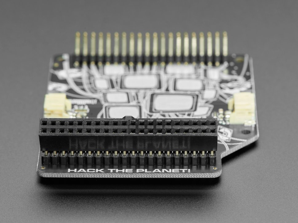 Close-up of right-angle connector of Cyberdeck HAT PCB.