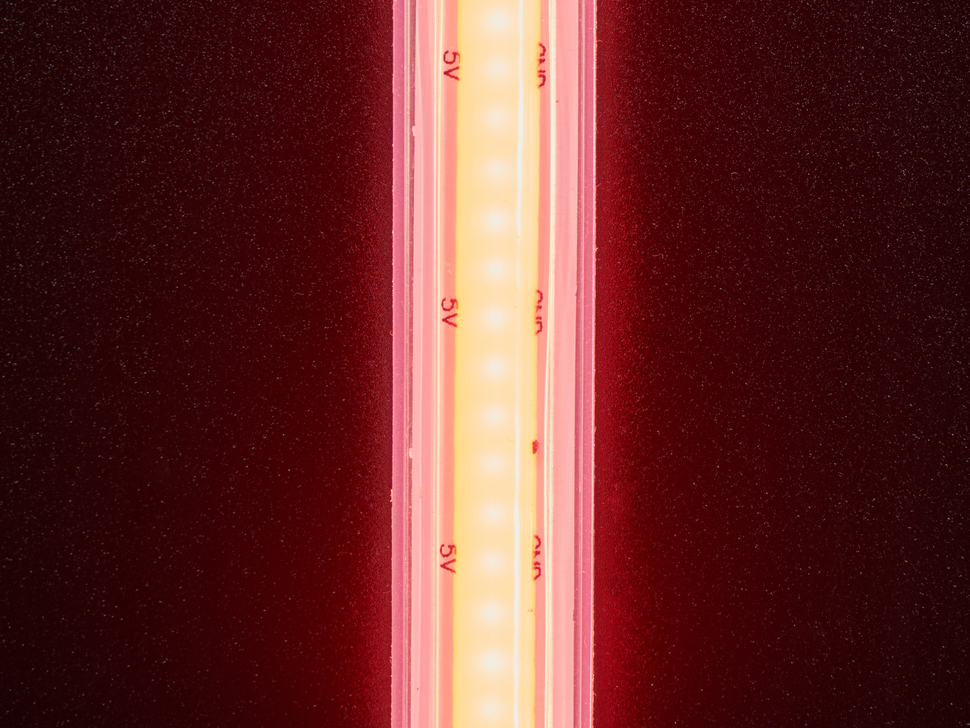 Detail of top of lit LED strip red