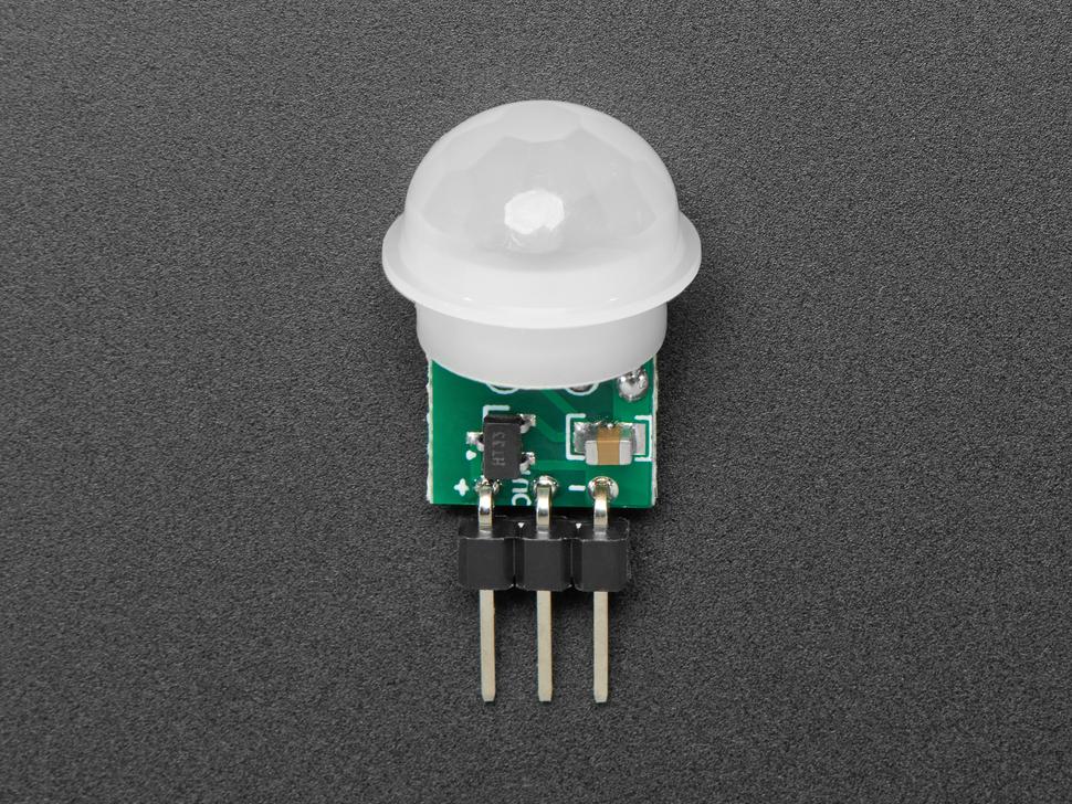 Topdown shot of 3-pin PIR sensor.