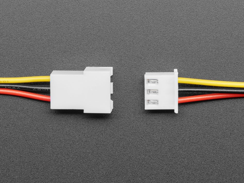Topdown shot of 3-pin cable matching pair about to connect.