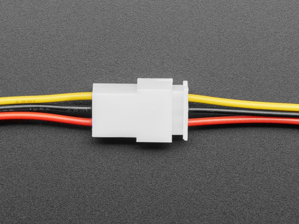 Topdown shot of 3-pin cable matching pair connected.