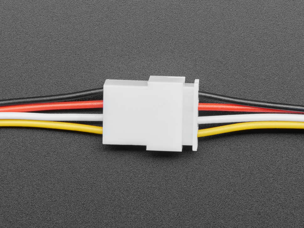 Topdown shot of 4-pin cable matching pair connected.