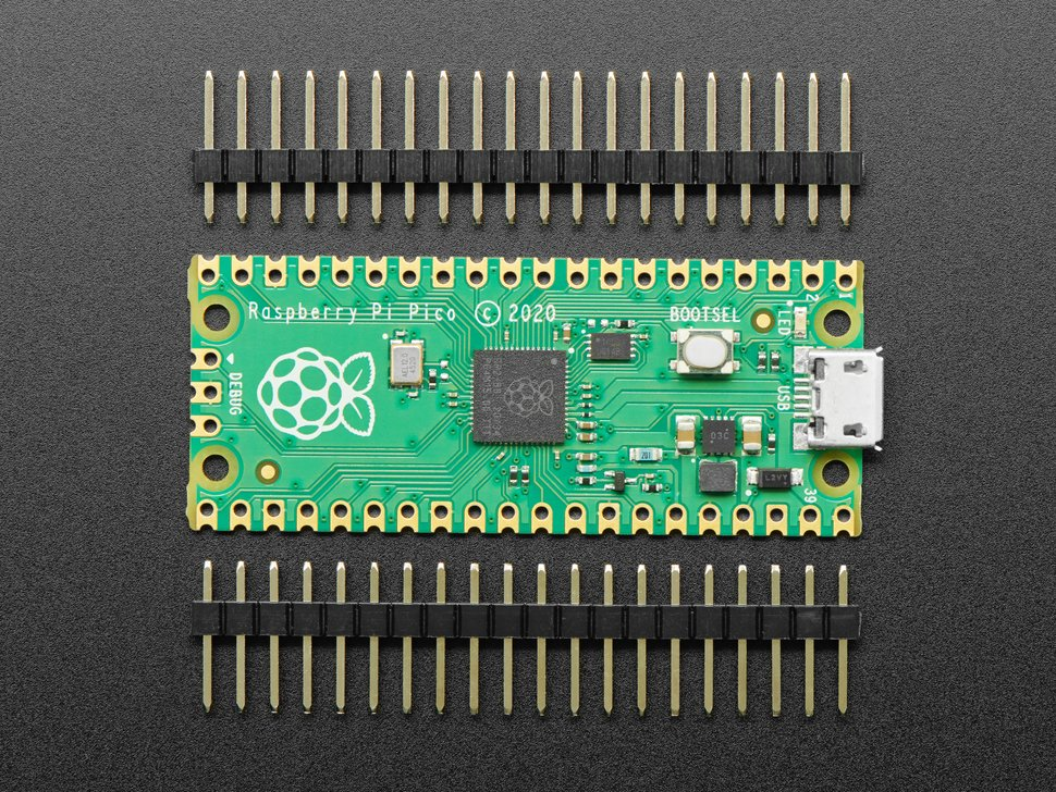 Top view of Raspberry Pi Pico with two 20-pin male headers.