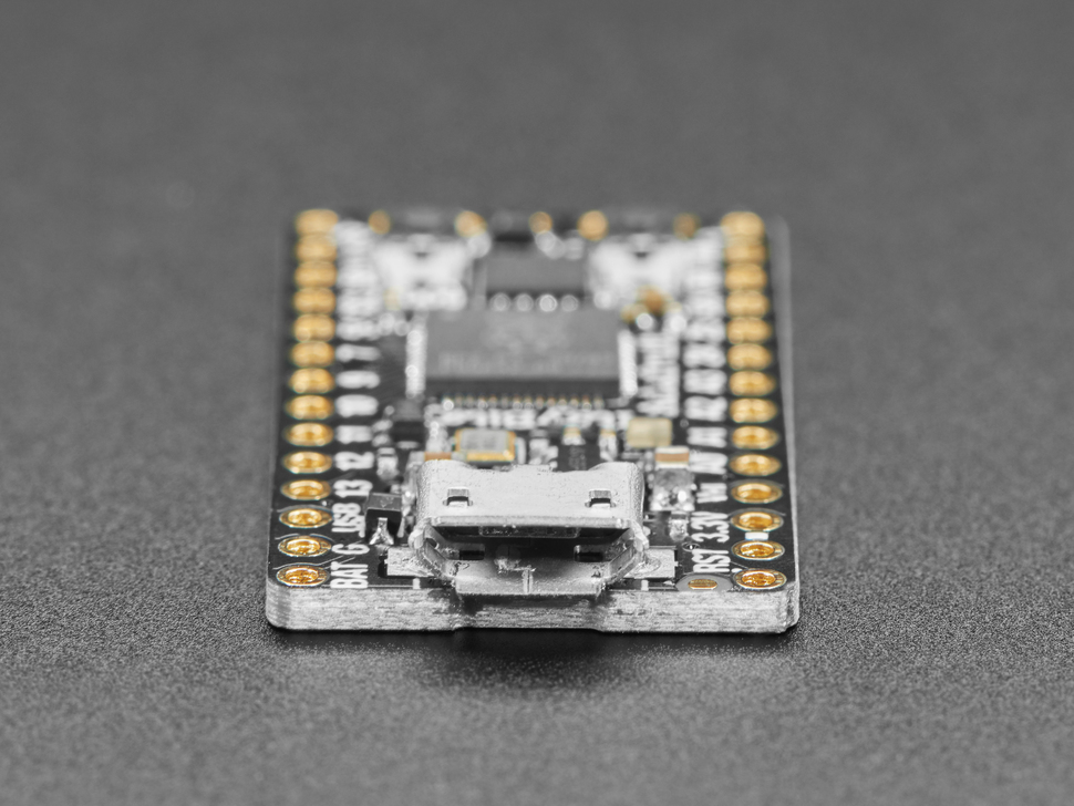 Close up of microUSB port on ItsyBitsy RP2040 PCB.