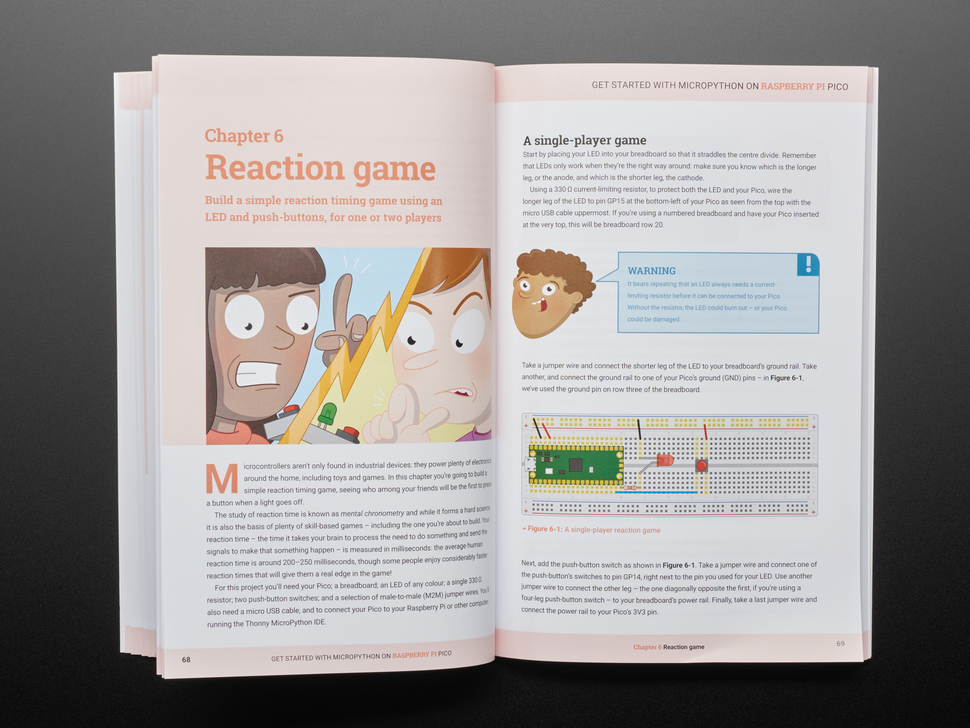 Book opened showing Chapter 6 reaction game. Pages include cartoon illustrations of kids with LEDs and a Raspberry Pi Pico on a breadboard.