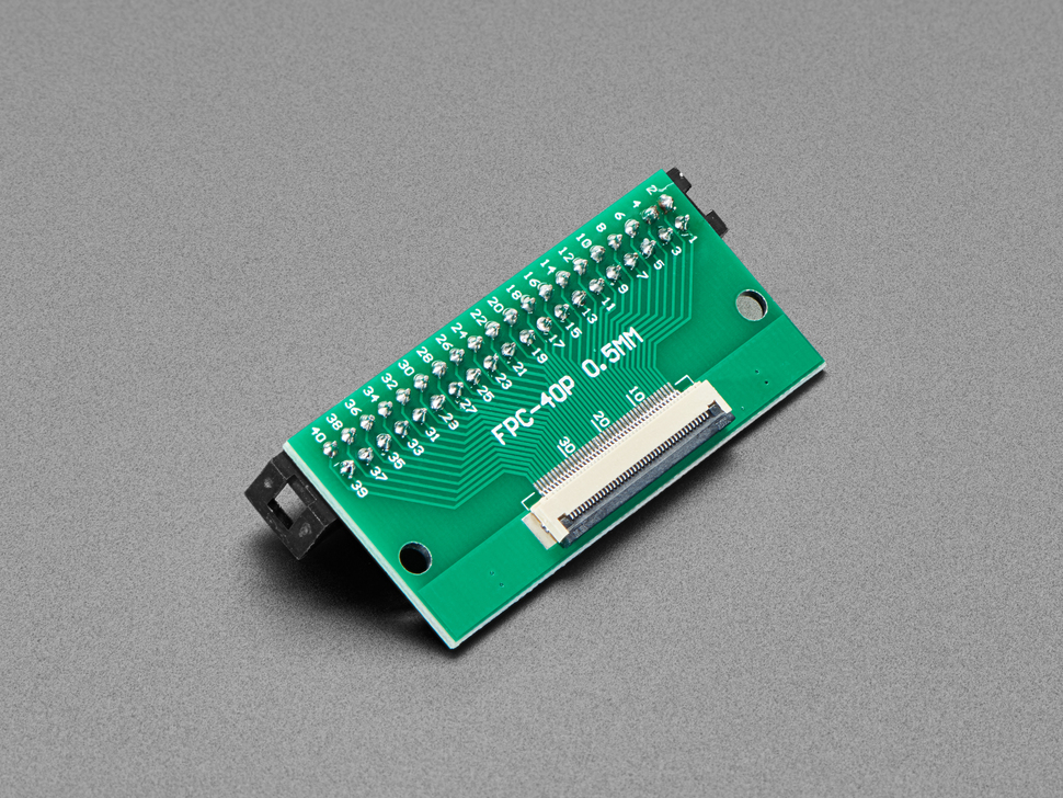 Reverse angled shot of 40-pin FPC to 2x20 IDC Plug header adapter board.