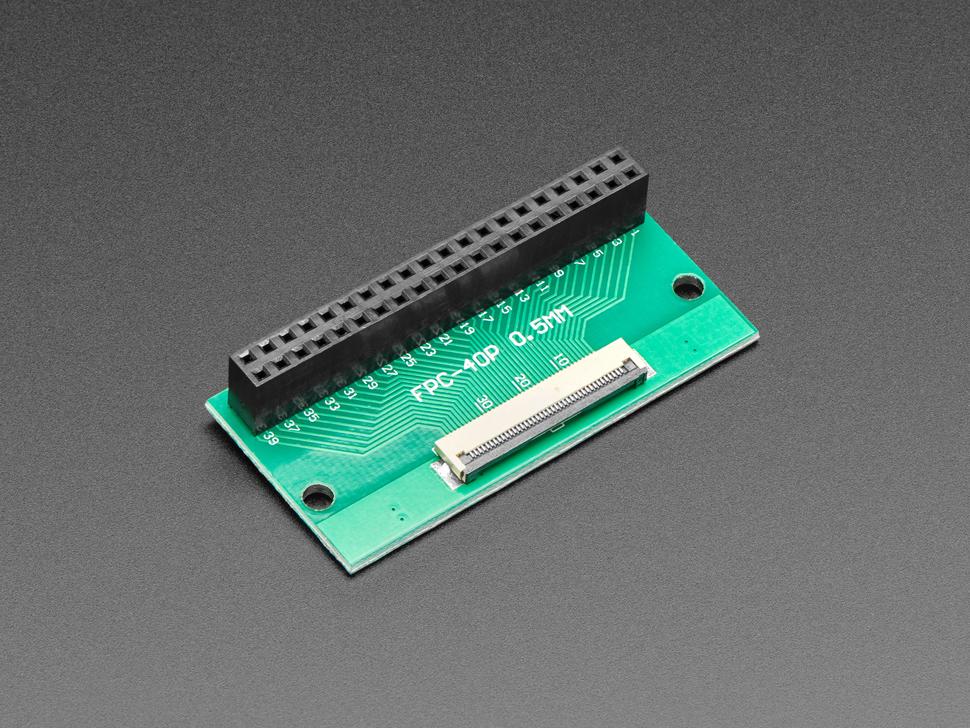 Angled shot of 40-pin FPC connector on 2x20 socket header adapter PCB.
