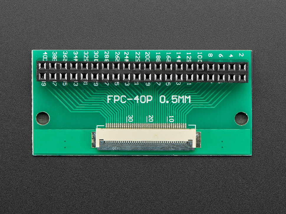 Front view of 40-pin FPC to 2x20 Socket Header adapter PCB.