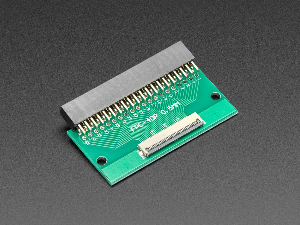 Angled shot of 40-pin FPC to 2x20 Right Angle Socket Header PCB.
