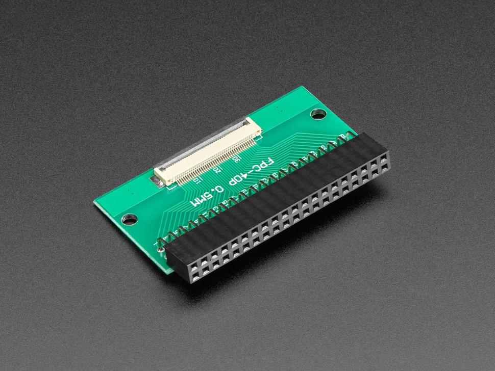 Reverse angled shot of 40-pin FPC to 2x20 Right Angle Socket Header PCB.