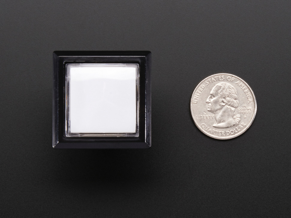Top-down shot of rectangular white 30mm pushbutton next to US quarter
