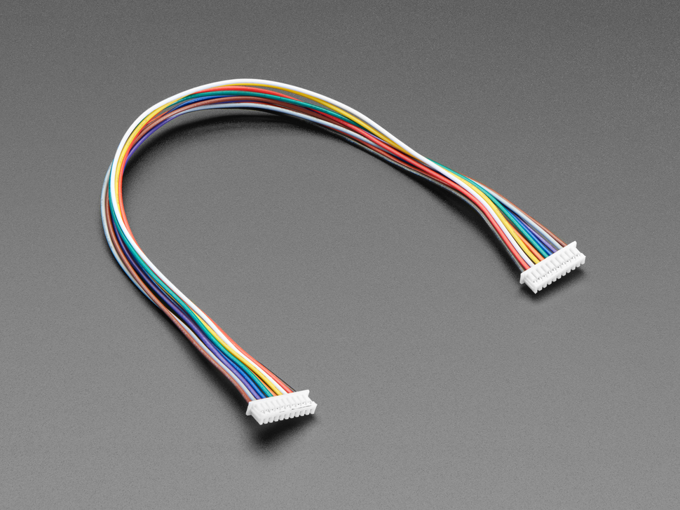 Angled shot of 20cm long 1.25mm pitch 10-pin color-coded cable.
