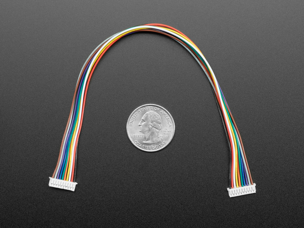 20cm long 1.25mm pitch 10-pin color-coded cable above a US quarter.
